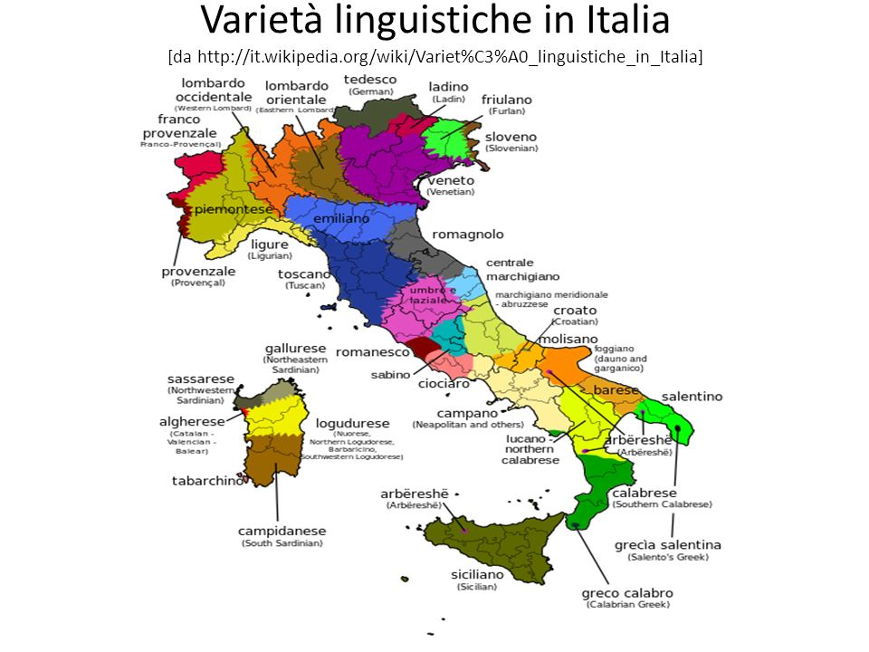 Varietà linguistiche in Italia [da http://it. wikipedia